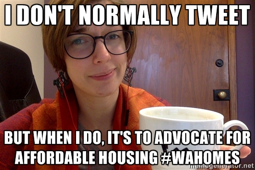I don't normally tweet..but when I do it's to advocate for affordable housing